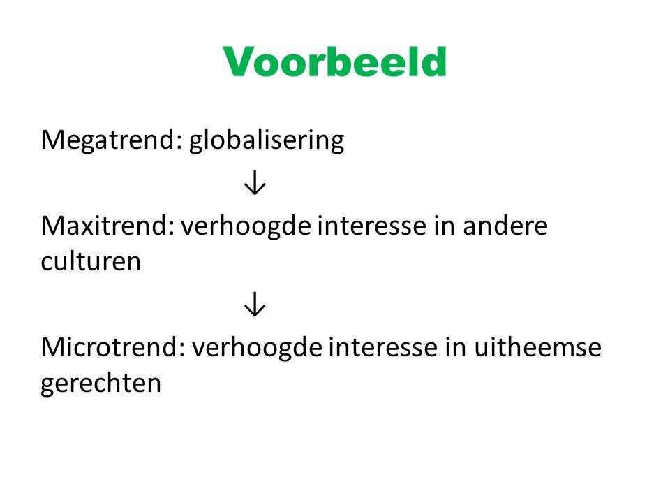 Voorbeeld Megatrend: globalisering ↓ Maxitrend: verhoogde interesse in andere culturen Microtrend: verhoogde interesse in uitheemse gerechten