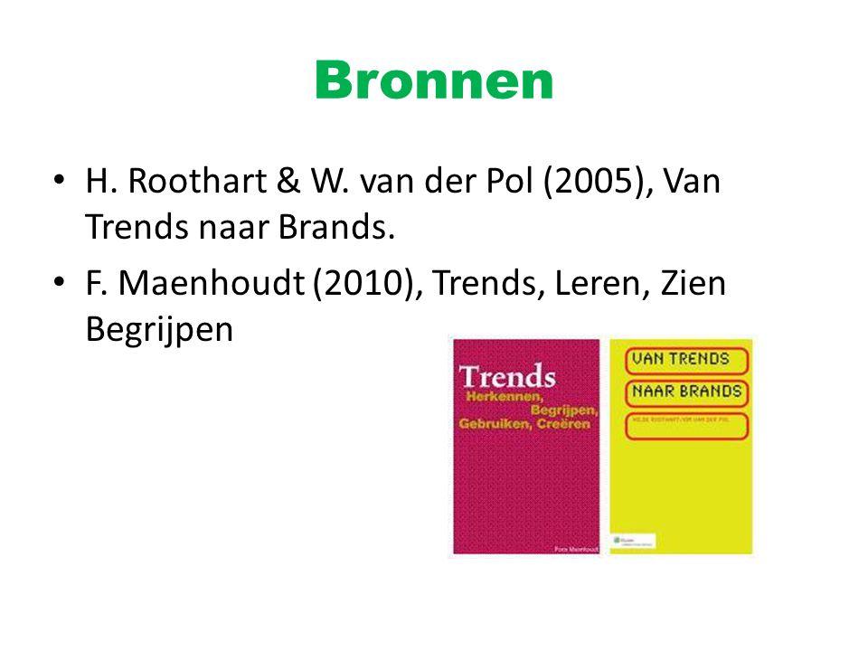 Bronnen H. Roothart & W. van der Pol (2005), Van Trends naar Brands.
