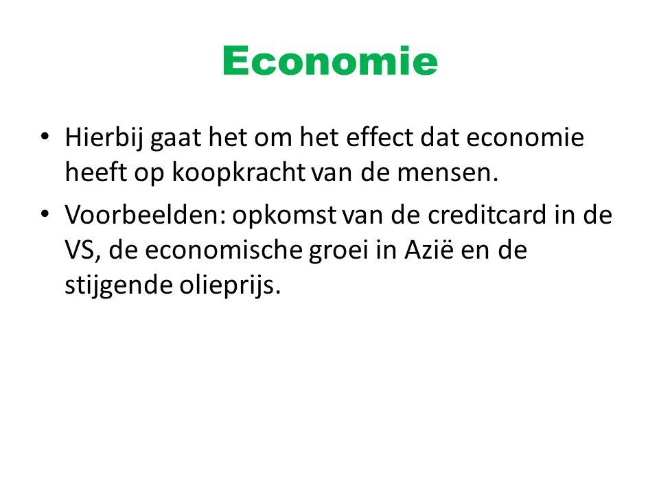 Economie Hierbij gaat het om het effect dat economie heeft op koopkracht van de mensen.