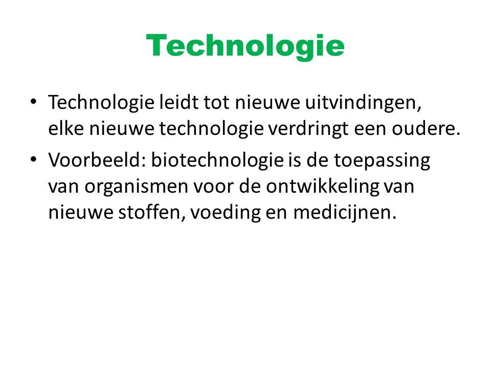Technologie Technologie leidt tot nieuwe uitvindingen, elke nieuwe technologie verdringt een oudere.