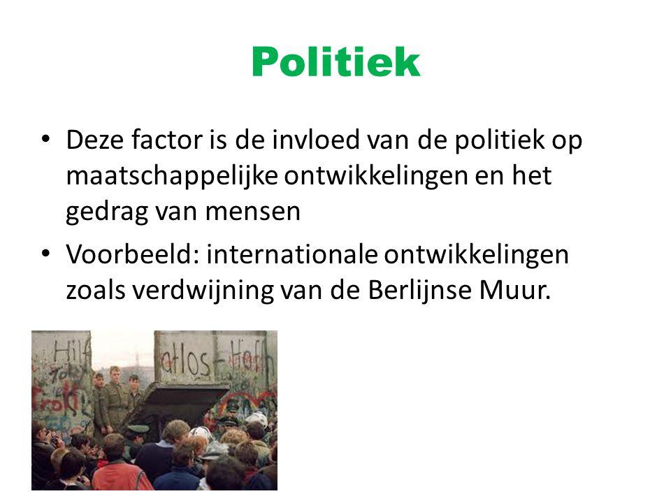 Politiek Deze factor is de invloed van de politiek op maatschappelijke ontwikkelingen en het gedrag van mensen.