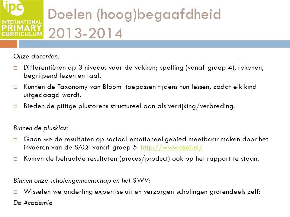Doelen (hoog)begaafdheid 2013-2014