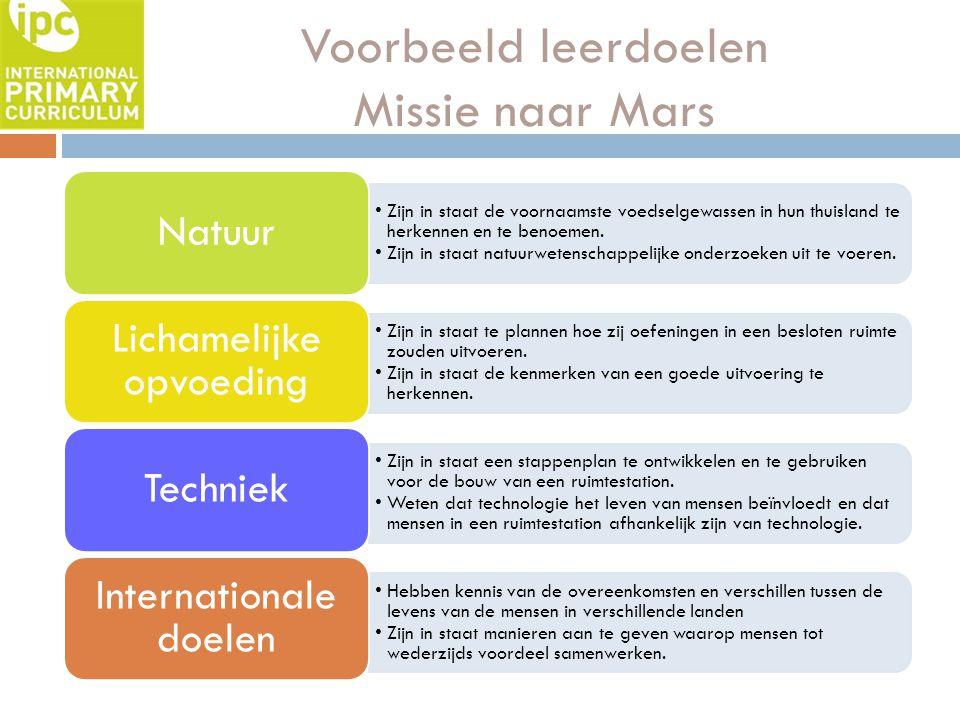 Voorbeeld leerdoelen Missie naar Mars