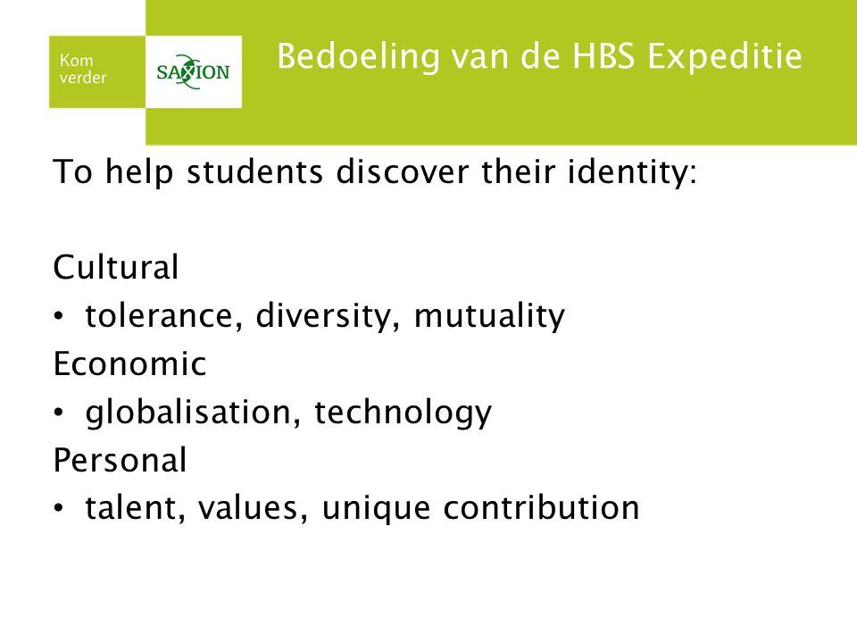 Bedoeling van de HBS Expeditie