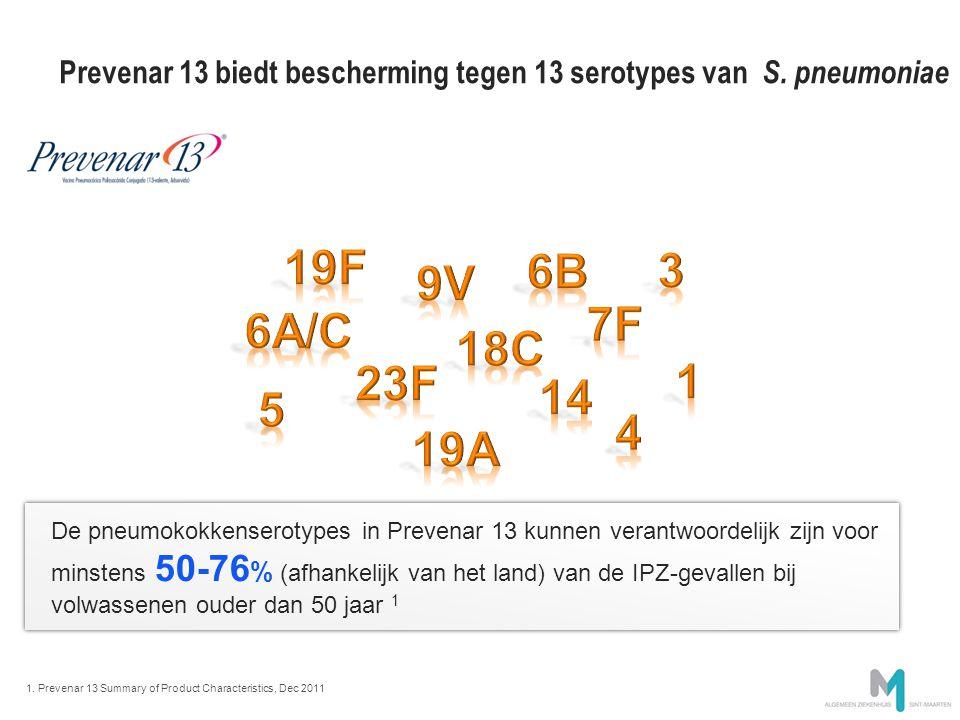 Prevenar 13 biedt bescherming tegen 13 serotypes van S. pneumoniae