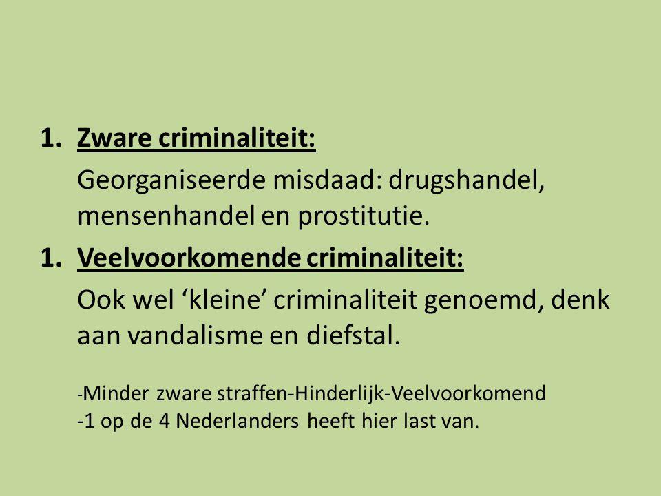 Georganiseerde misdaad: drugshandel, mensenhandel en prostitutie.