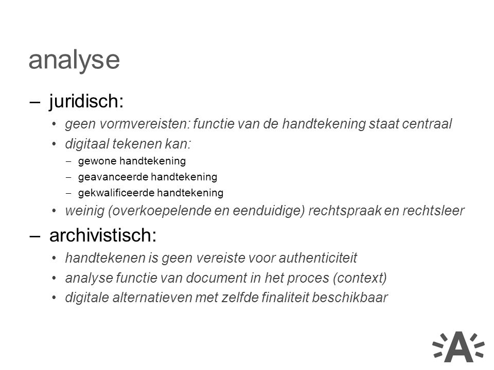 analyse juridisch: archivistisch: