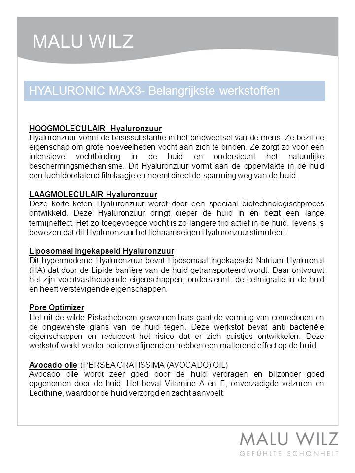 MALU WILZ HYALURONIC MAX3- Belangrijkste werkstoffen