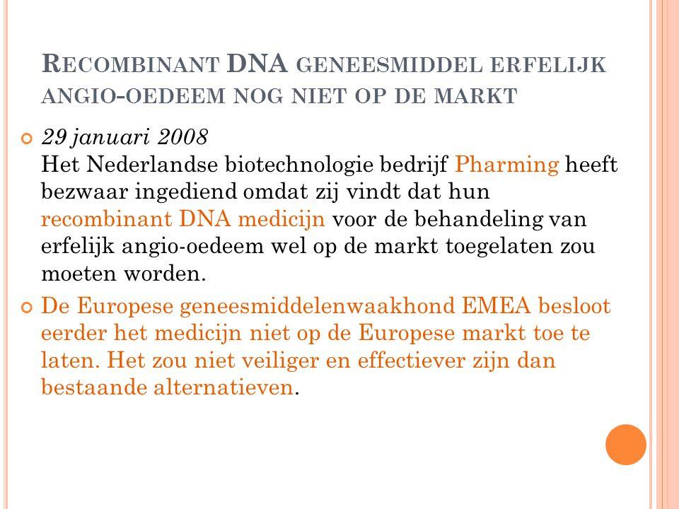Recombinant DNA geneesmiddel erfelijk angio-oedeem nog niet op de markt