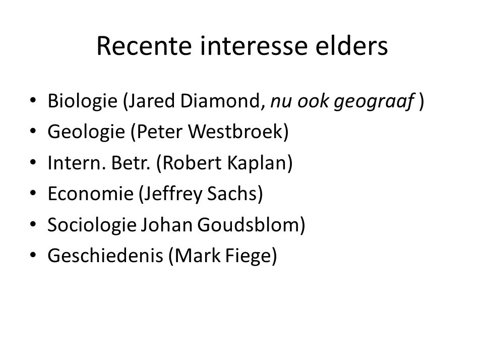 Recente interesse elders