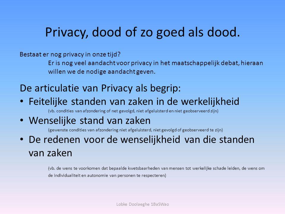Privacy, dood of zo goed als dood.