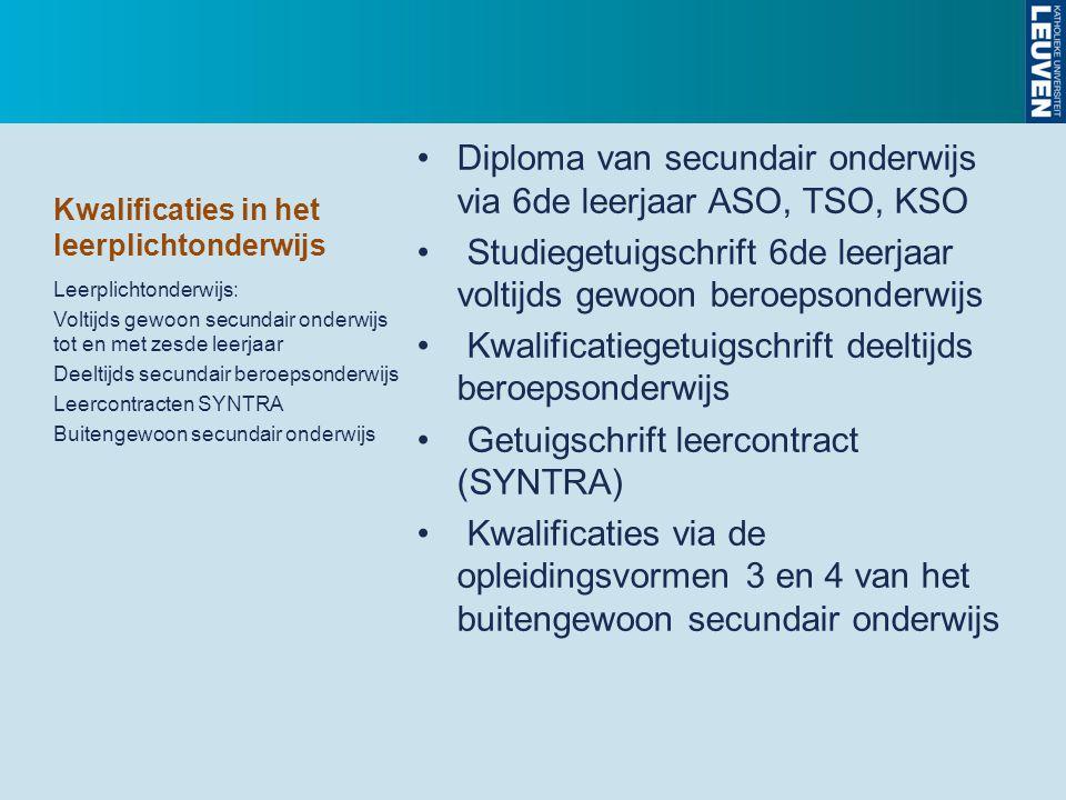 Kwalificaties in het leerplichtonderwijs