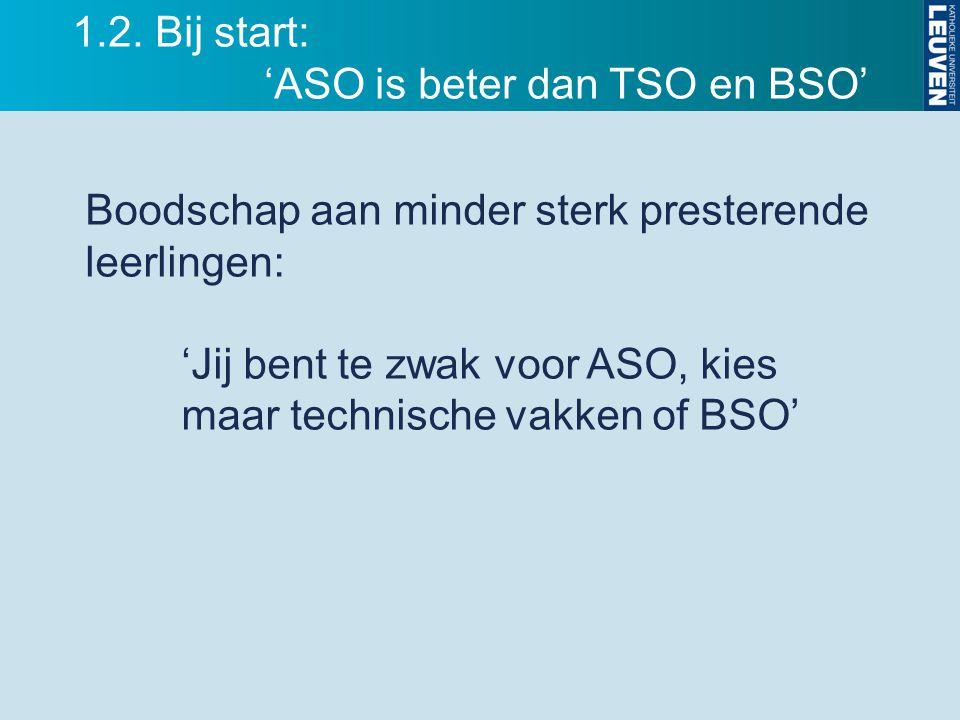 1.2. Bij start: 'ASO is beter dan TSO en BSO'