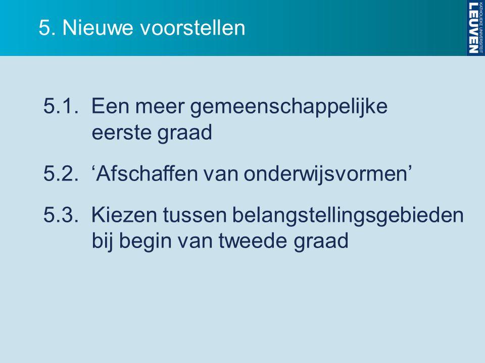 5. Nieuwe voorstellen 5.1. Een meer gemeenschappelijke eerste graad. 5.2. 'Afschaffen van onderwijsvormen'