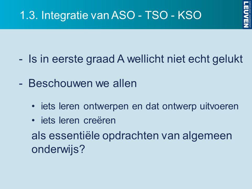 1.3. Integratie van ASO - TSO - KSO