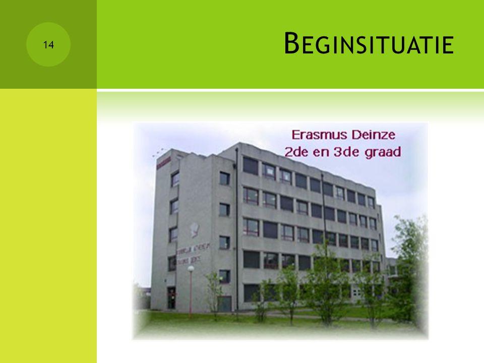 Beginsituatie Erasmus Atheneum Deinze (1/3 vestigingsplaatsen)