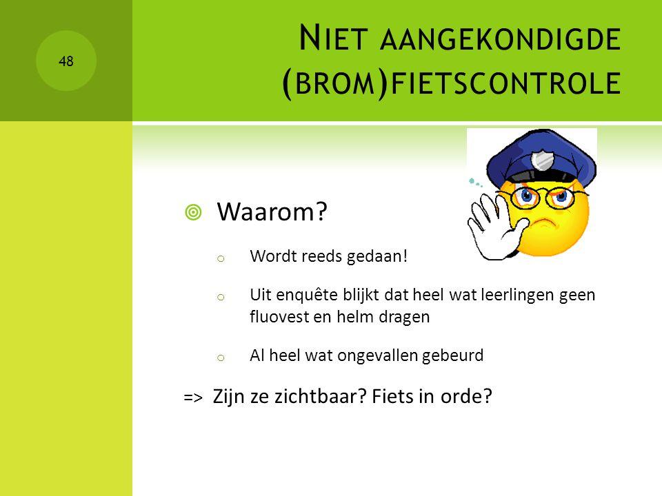 Niet aangekondigde (brom)fietscontrole