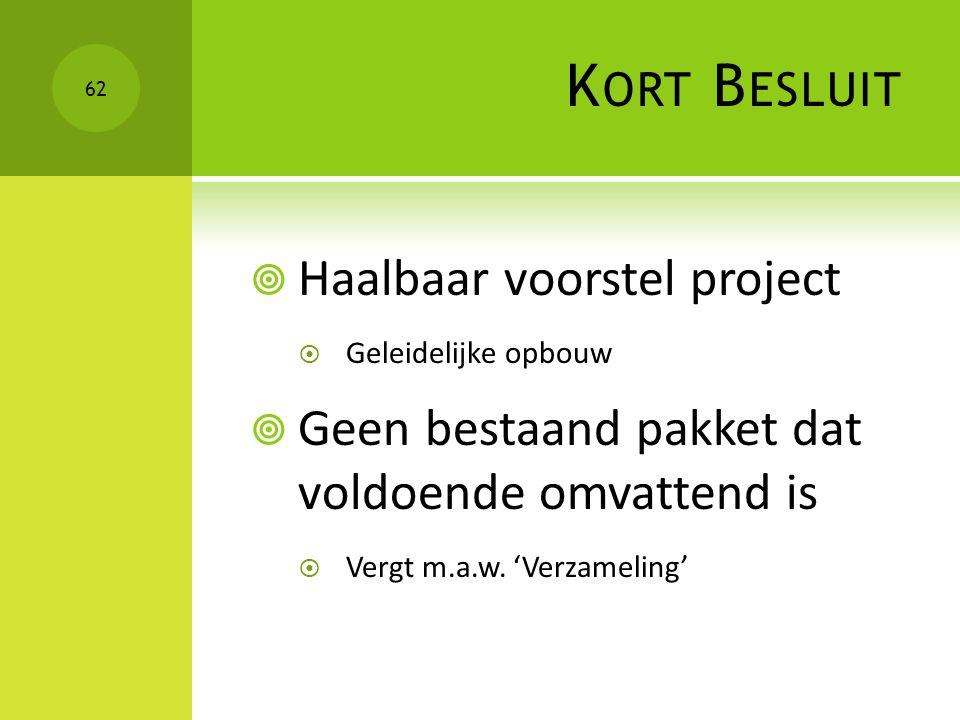 Kort Besluit Haalbaar voorstel project