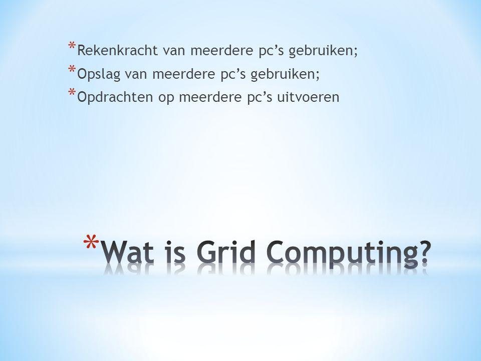 Wat is Grid Computing Rekenkracht van meerdere pc's gebruiken;