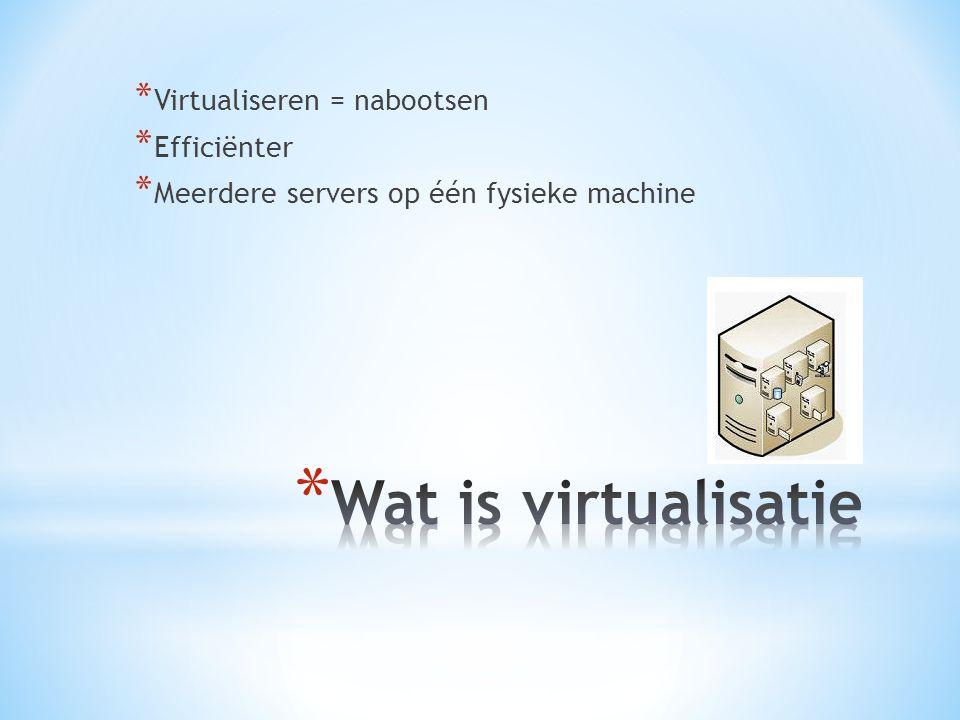 Wat is virtualisatie Virtualiseren = nabootsen Efficiënter