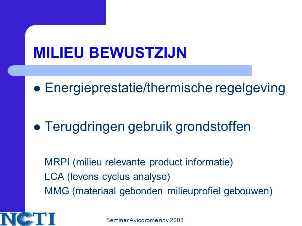 MILIEU BEWUSTZIJN Energieprestatie/thermische regelgeving