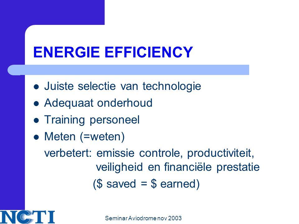 ENERGIE EFFICIENCY Juiste selectie van technologie Adequaat onderhoud
