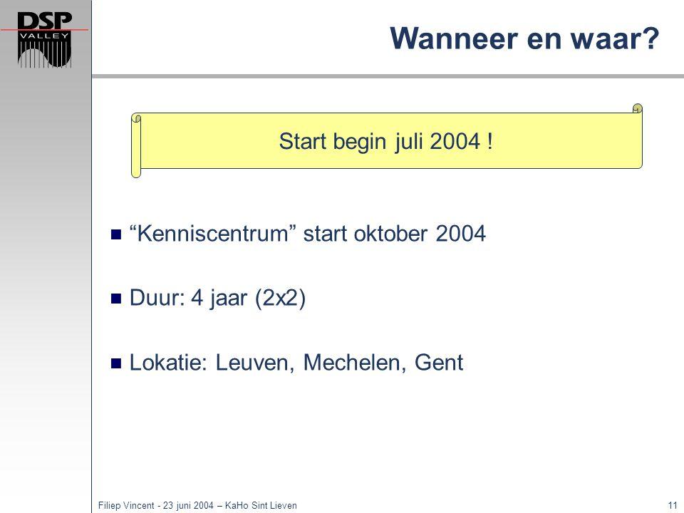 Wanneer en waar Start begin juli 2004 !