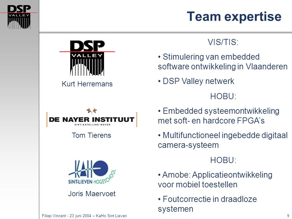 Team expertise VIS/TIS: