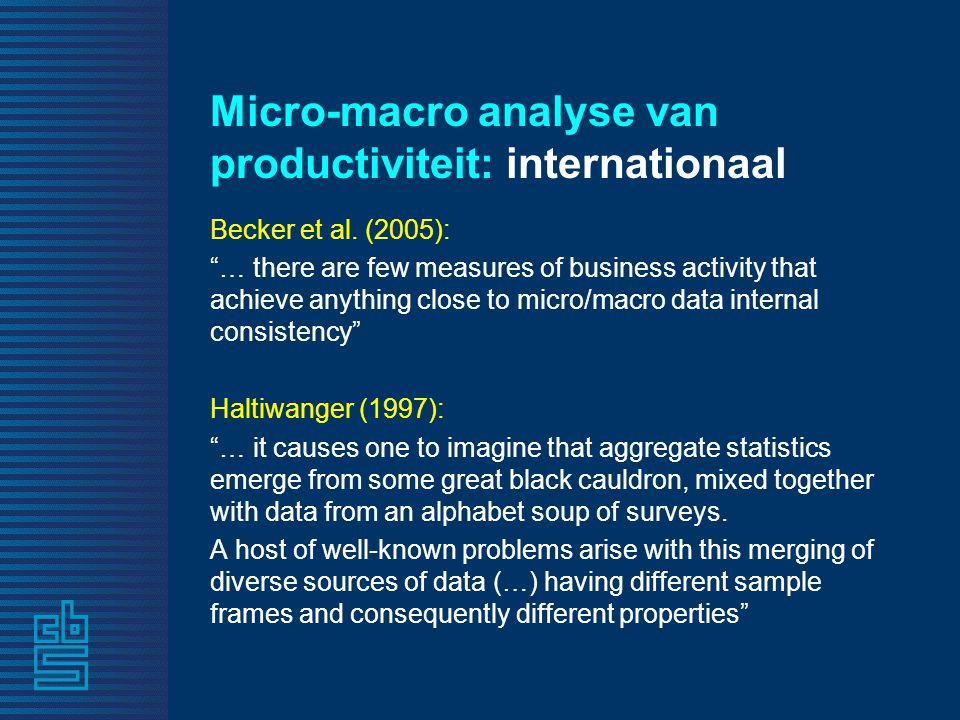 Micro-macro analyse van productiviteit: internationaal