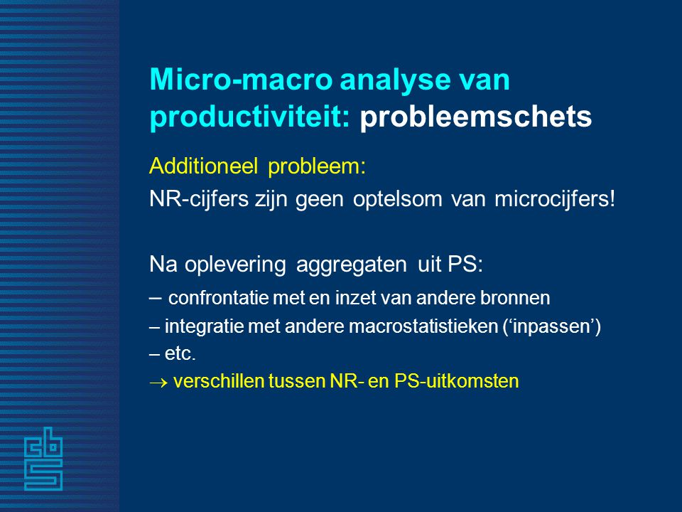 Micro-macro analyse van productiviteit: probleemschets