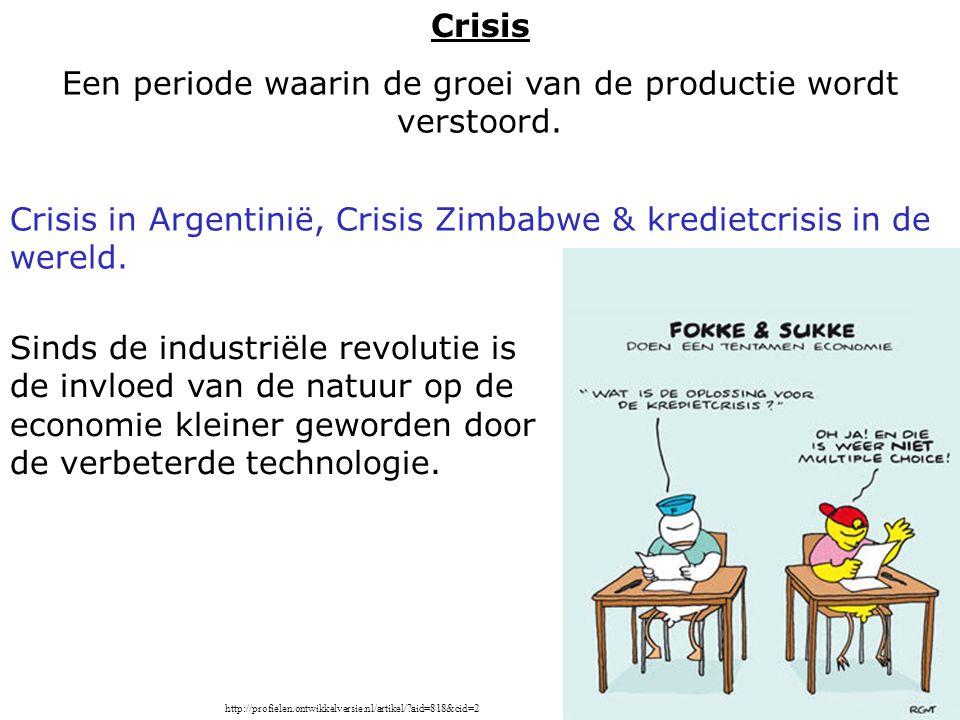 Een periode waarin de groei van de productie wordt verstoord.