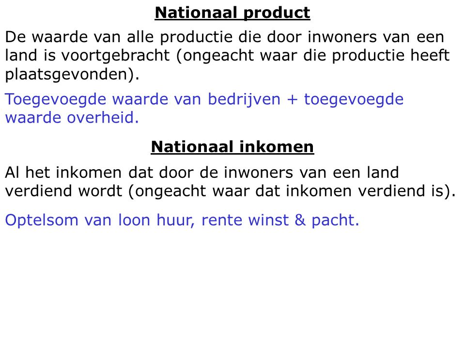 Nationaal product Nationaal inkomen