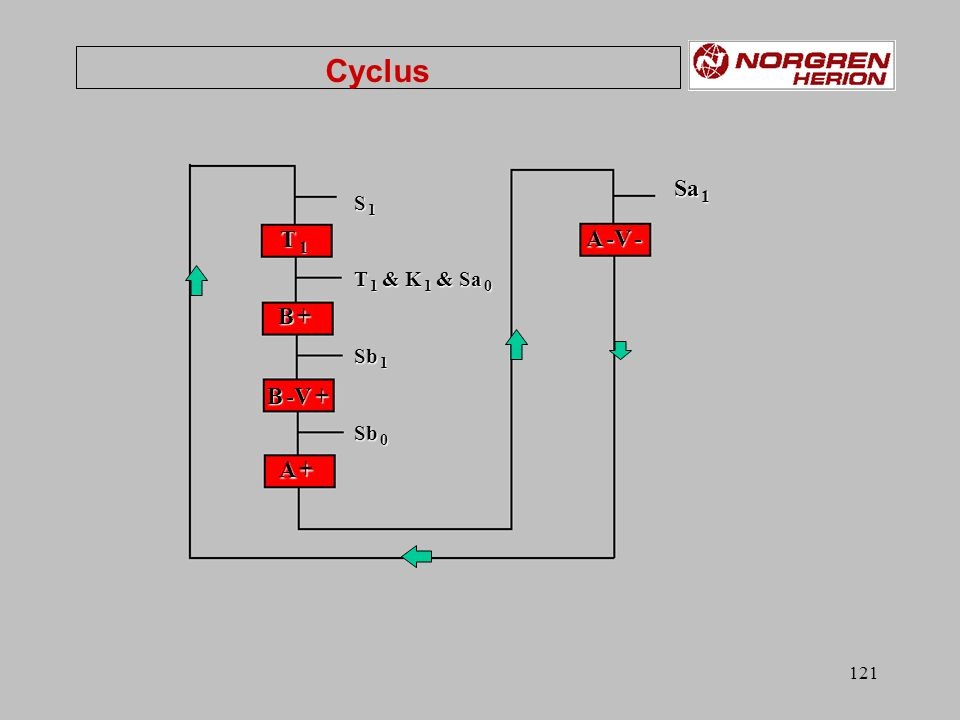 Cyclus S 1 T 1 & K 1 & Sa 0 Sb 1 Sb 0 T 1 B + B -V + A + A -V - Sa 1