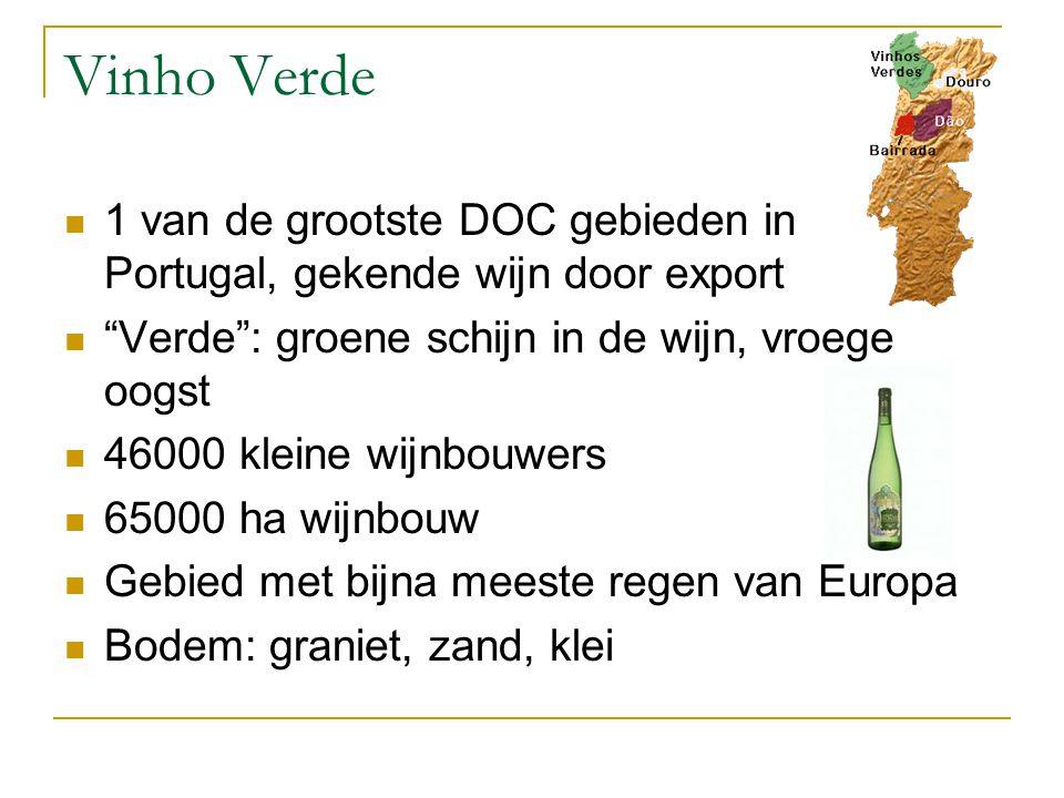 Vinho Verde 1 van de grootste DOC gebieden in Portugal, gekende wijn door export. Verde : groene schijn in de wijn, vroege oogst.