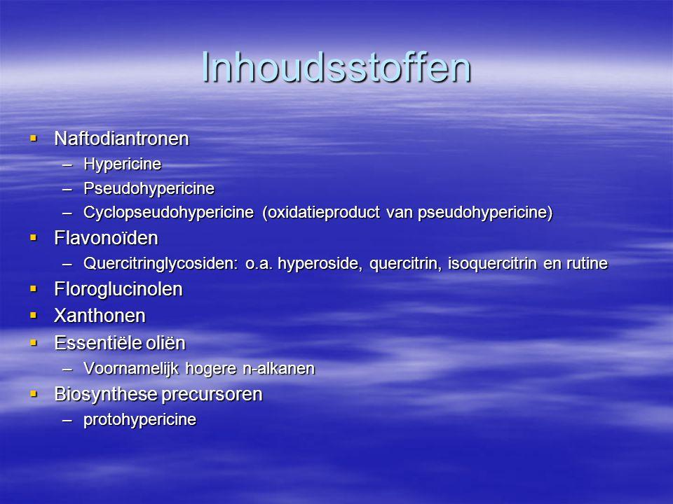Inhoudsstoffen Naftodiantronen Flavonoïden Floroglucinolen Xanthonen