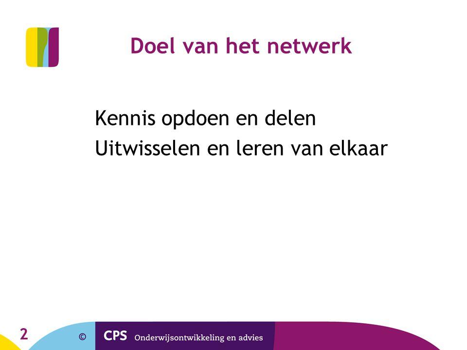 Doel van het netwerk Uitwisselen en leren van elkaar