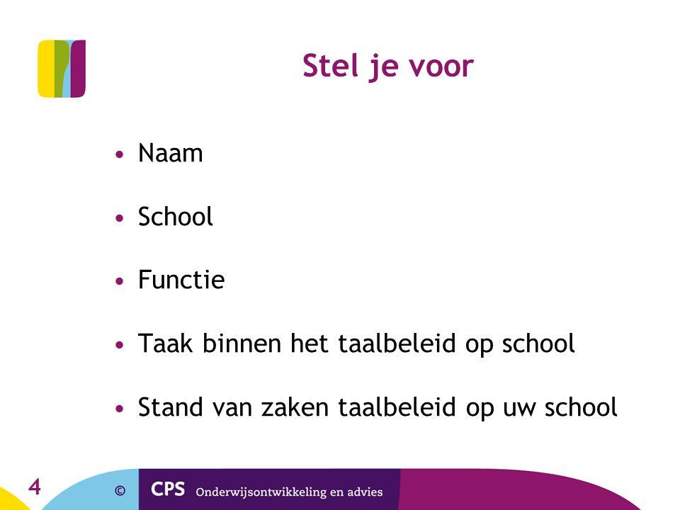Stel je voor Naam School Functie Taak binnen het taalbeleid op school