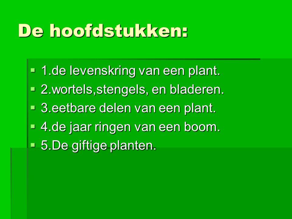 De hoofdstukken: 1.de levenskring van een plant.