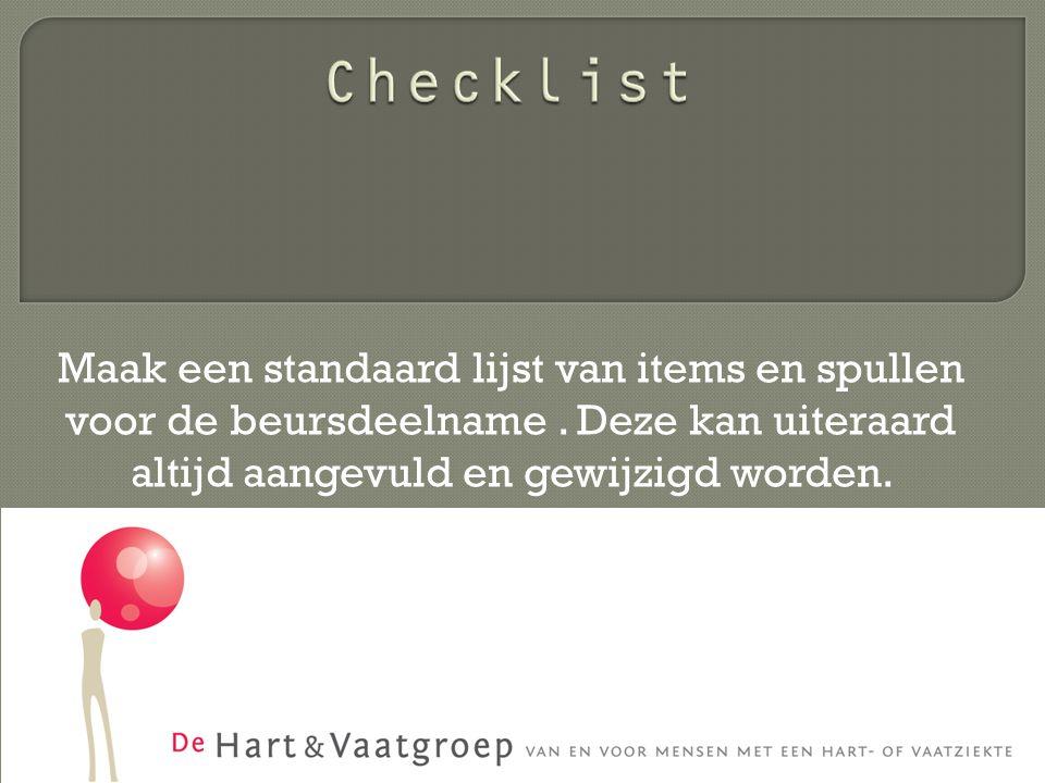 Maak een standaard lijst van items en spullen voor de beursdeelname