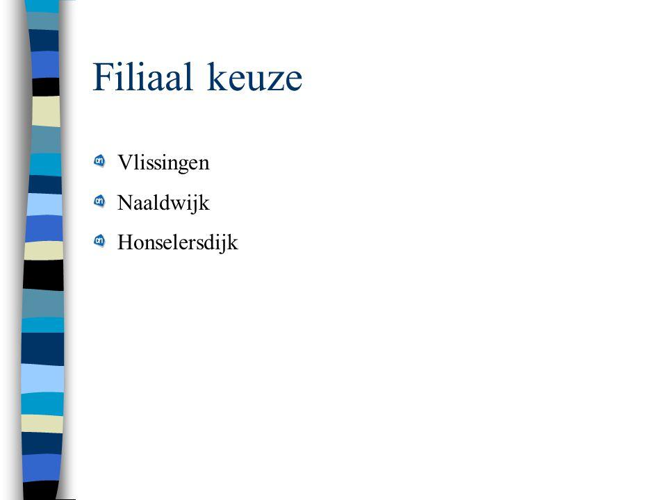 Filiaal keuze Vlissingen Naaldwijk Honselersdijk