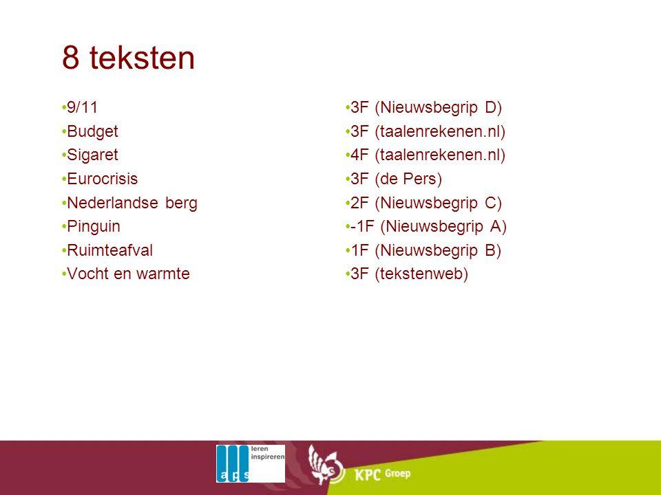 8 teksten 9/11 Budget Sigaret Eurocrisis Nederlandse berg Pinguin
