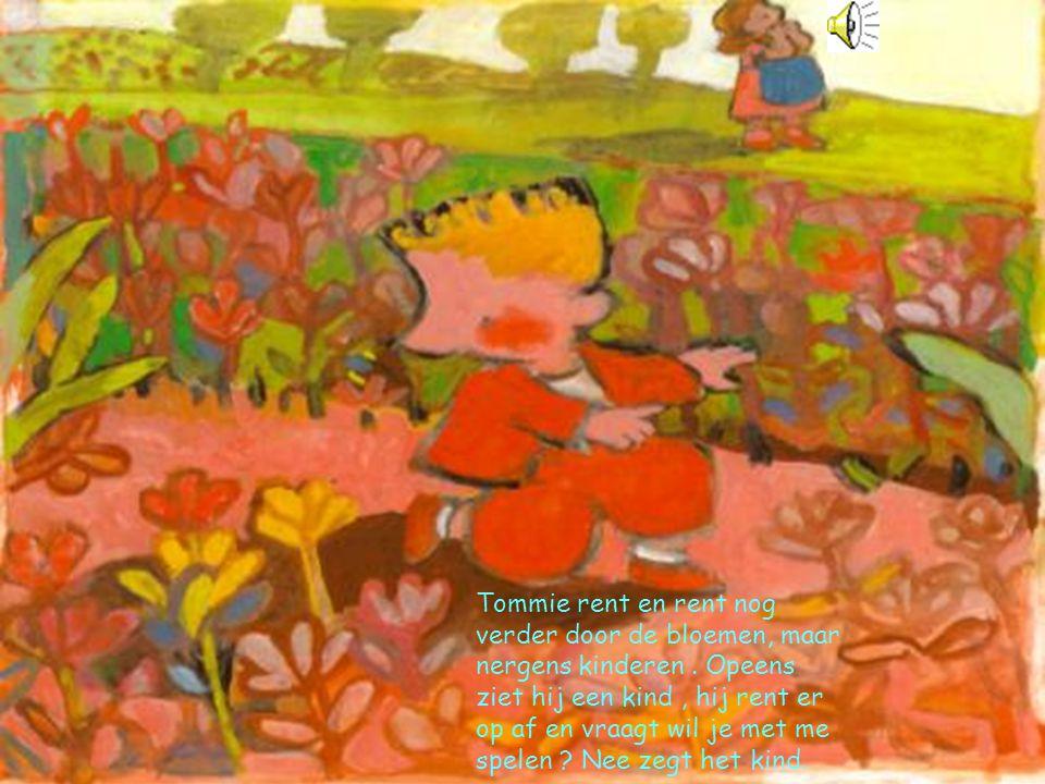 Tommie rent en rent nog verder door de bloemen, maar nergens kinderen