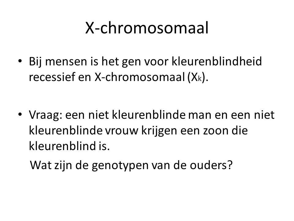 X-chromosomaal Bij mensen is het gen voor kleurenblindheid recessief en X-chromosomaal (Xk).