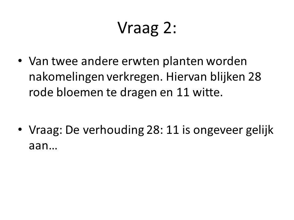 Vraag 2: Van twee andere erwten planten worden nakomelingen verkregen. Hiervan blijken 28 rode bloemen te dragen en 11 witte.