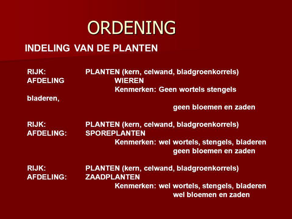 ORDENING INDELING VAN DE PLANTEN