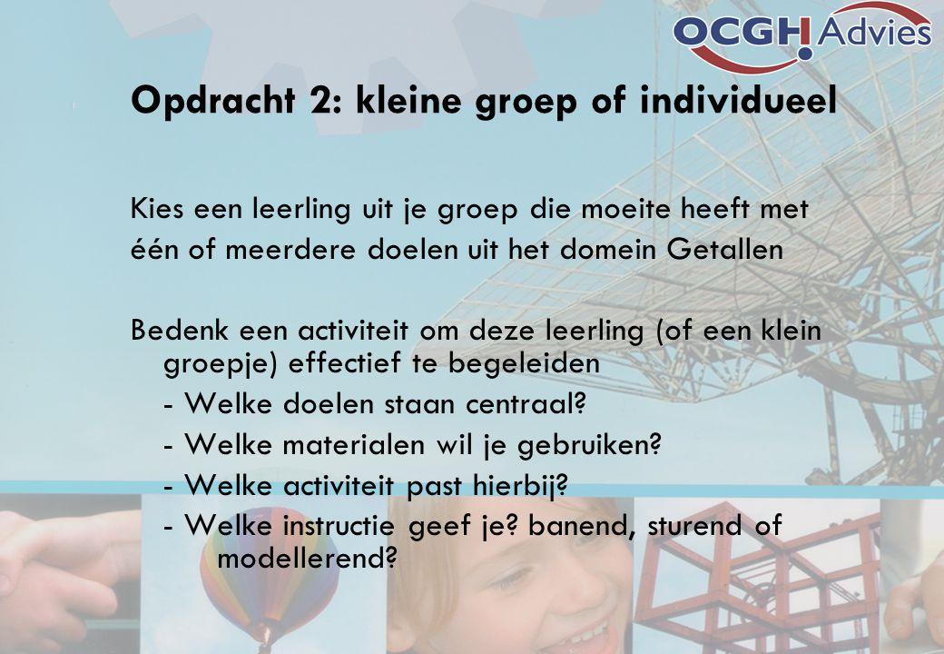 Opdracht 2: kleine groep of individueel