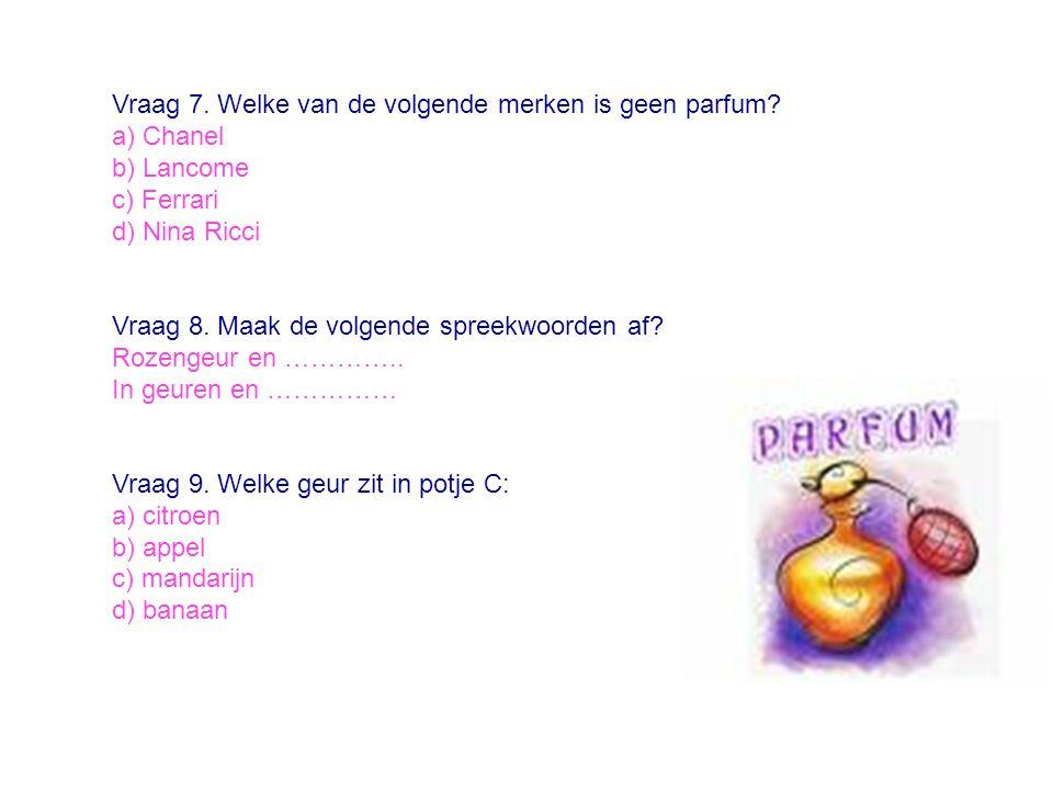 Vraag 7. Welke van de volgende merken is geen parfum
