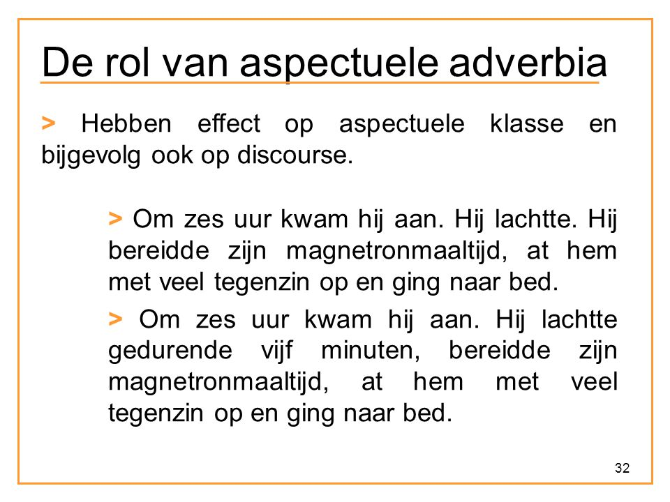 De rol van aspectuele adverbia