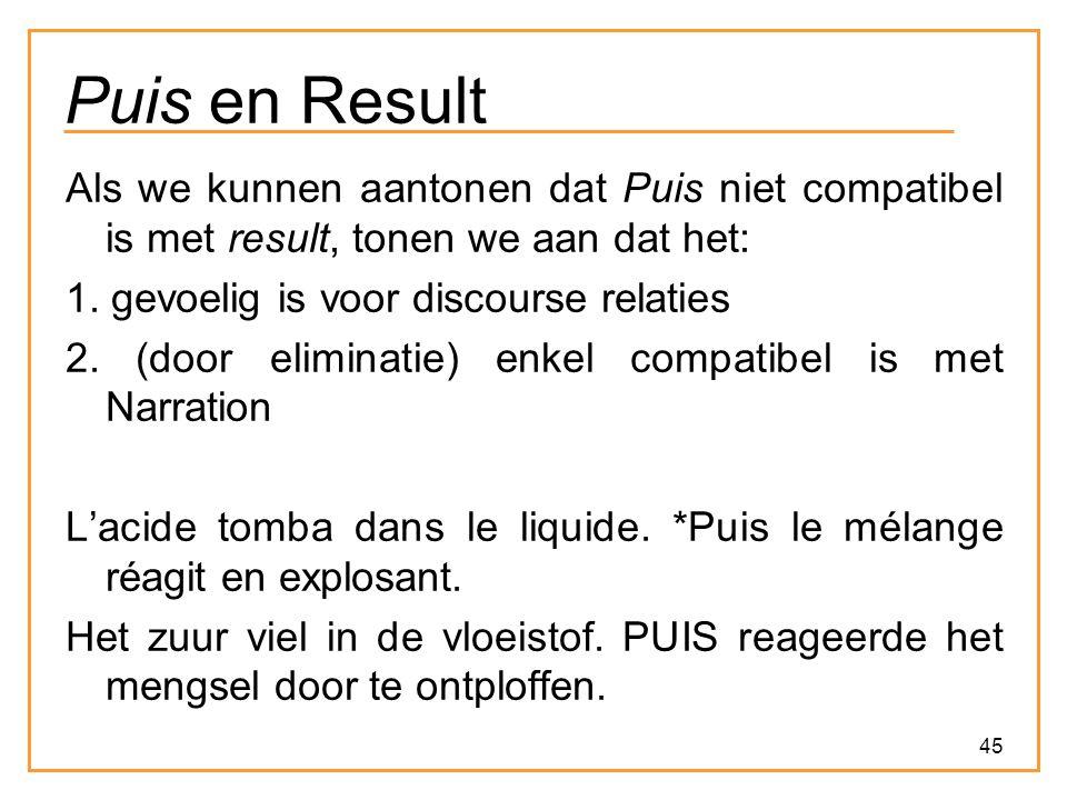 Puis en Result Als we kunnen aantonen dat Puis niet compatibel is met result, tonen we aan dat het: