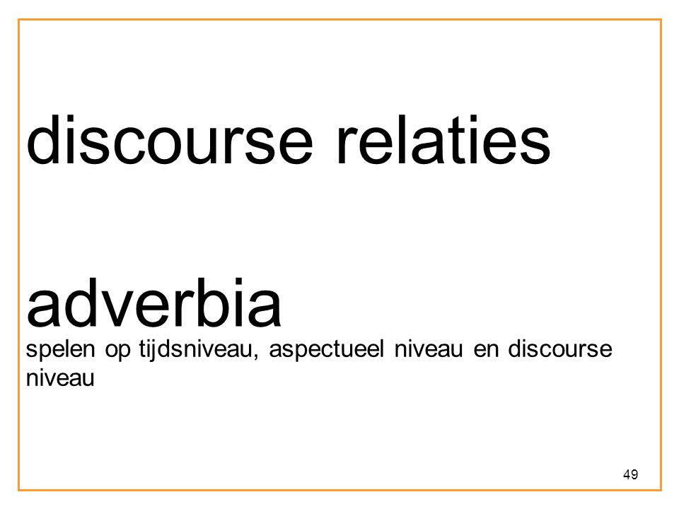 discourse relaties adverbia